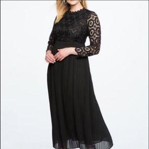 ELOQUII Black lace and chiffon pleated maxi dress
